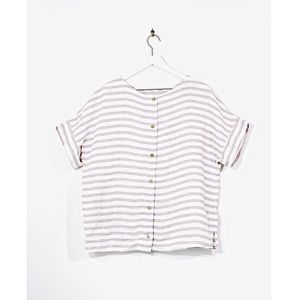 Sigrid Olsen 100% Linen Button Down Back Blouse